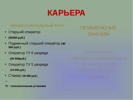 слайда 5 КАРЬЕРА